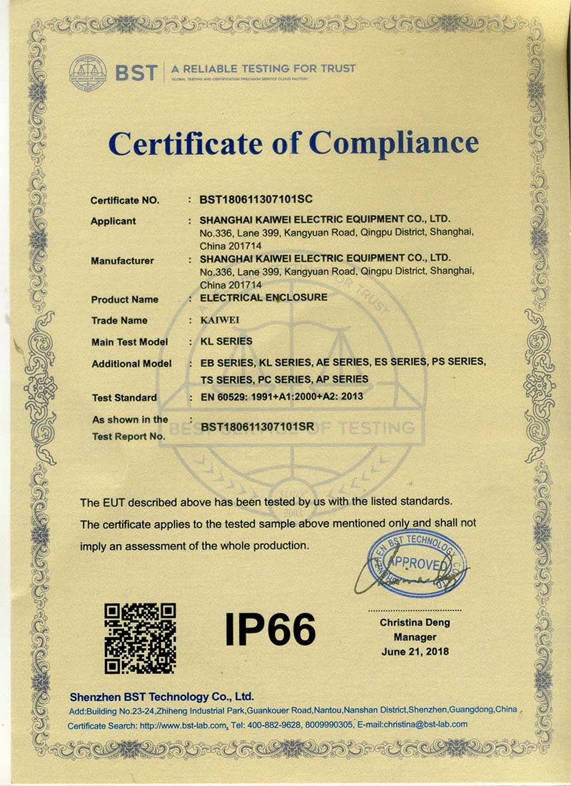 Protection class certificate IP66